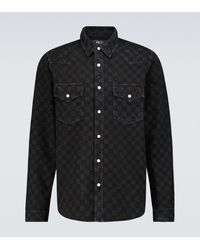Amiri Laser Checked Denim Overshirt - Black