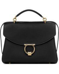 Ferragamo Margot Large Leather Shoulder Bag - Black