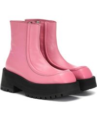 Marni Leather Ankle Boots - Pink
