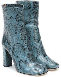 Paris Texas Botines de piel efecto serpiente - Azul