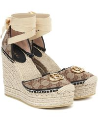 Gucci GG Canvas Wedge Espadrilles - Brown
