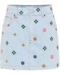 Kirin Printed High-rise Denim Miniskirt - Blue