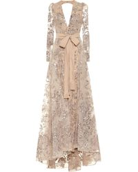Elie Saab Embroidered Long-sleeved Gown - Natural
