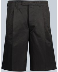 Prada Short en sergé de coton à pinces - Noir