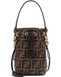Fendi Mon Tresor Mini Leather Bucket Bag - Brown