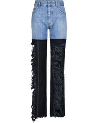 Peter Do High-Rise Distressed Straight Jeans - Blau