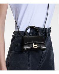 Balenciaga Borsa Hourglass Mini in pelle - Nero