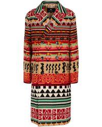 Etro Abrigo de jacquard en mezcla de lana - Rojo