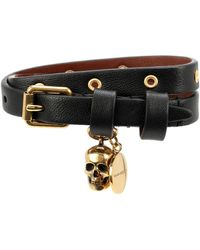 Alexander McQueen Bracelet en cuir à ornements - Noir
