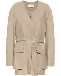 Low Classic Belted Faux Leather Jacket - Natural