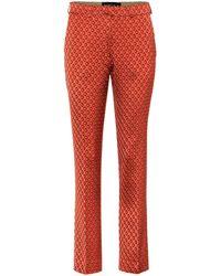 Etro High-rise Straight Jacquard Pants - Orange