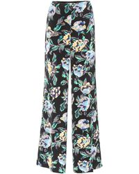 Diane von Furstenberg Floral-printed Wide-leg Pants - Black