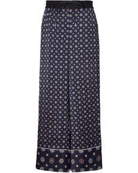 Sacai Printed High-rise Wide-leg Trousers - Blue