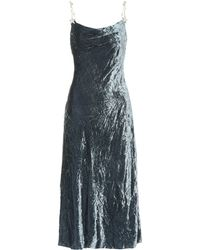 Miu Miu - Embellished Velvet Midi Dress - Lyst