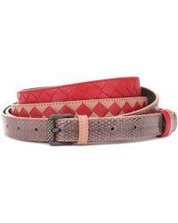 Bottega Veneta - Intrecciato Snakeskin-trimmed Belt - Lyst
