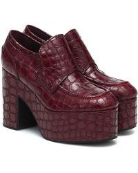 Dries Van Noten Platform Croc-effect Leather Loafers - Red