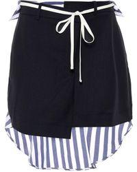 Monse Minifalda de lana y algodón - Azul