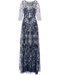 Marchesa notte Vestido de fiesta de tul con lentejuelas - Azul