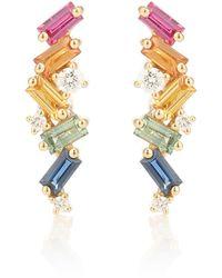 Suzanne Kalan Boucles d'oreilles Rainbow Fireworks en or 18 ct, diamants et saphirs - Métallisé