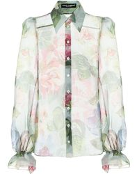 Dolce & Gabbana Floral Silk-chiffon Blouse - Multicolor