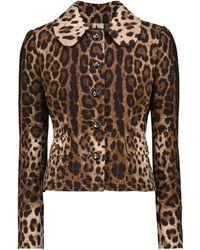 Dolce & Gabbana Giacca in crêpe di lana con stampa leopardata - Multicolore