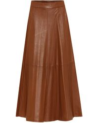 Polo Ralph Lauren High-rise Leather Midiskirt - Brown