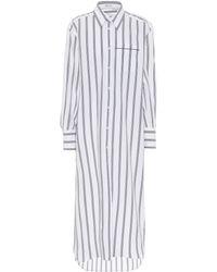 Brunello Cucinelli - Exklusiv bei Mytheresa – Gestreiftes Hemdblusenkleid aus Baumwolle - Lyst