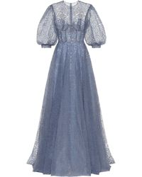 Costarellos Torie Embellished Tulle Gown - Blue