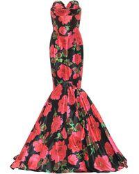 Richard Quinn Floral Taffeta Gown - Black