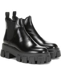 Prada Chelsea Boots aus Leder - Schwarz