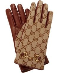 Gucci GG-canvas And Leather Gloves - Brown