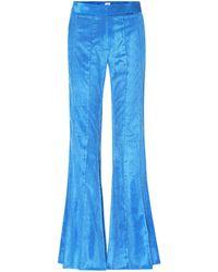 Rosie Assoulin Pleated Flare Corduroy Pants - Blue