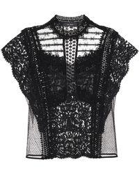 Isabel Marant Floral-lace Short-sleeve Blouse - Black