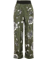 Moncler Pantalon à taille haute en soie imprimée - Vert