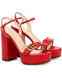 Gucci Sandales Marmont en cuir à plateau - Rouge