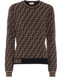 Fendi Pullover mit FF-Muster - Braun
