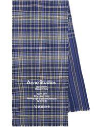 Acne Studios Bufanda de lana a cuadros - Azul