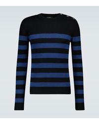Balmain Jersey de lana y algodón a rayas - Azul