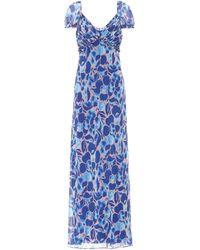 Diane von Furstenberg Vestido largo Chevelle estampado - Azul