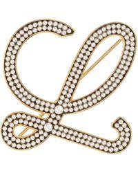 Loewe Faux Pearl Monogram Brooch - Metallic