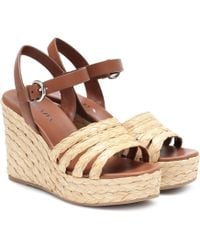 Prada 105 Leather And Woven Raffia Espadrille Wedge Sandals - Multicolour