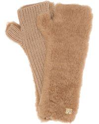 Max Mara Manny Camel Hair And Silk Fingerless Gloves - Natural