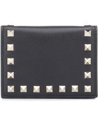 Valentino Rockstud Leather Wallet - Black