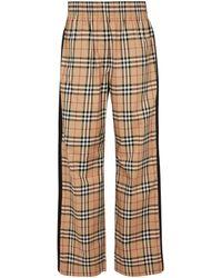 Burberry Vintage Check High-rise Wide-leg Sweatpants - Natural