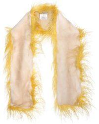 Prada - Feather And Fur Scarf - Lyst