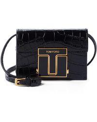 Tom Ford Schultertasche 001 Small aus Leder - Schwarz