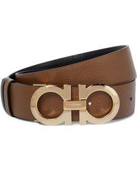 Ferragamo Gancini Reversible Leather Belt - Brown