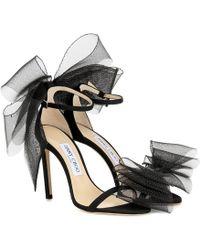 Jimmy Choo Aveline 100 Tulle-trimmed Sandals - Black