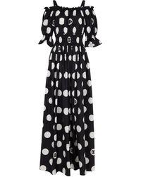 Dolce & Gabbana Esclusiva Mytheresa - Abito lungo in cotone a pois - Bianco