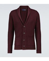 Lardini Wool Shawl Cardigan - Red